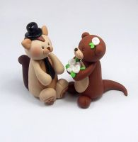 Squirrel and Otter Wedding Cake Topper by HeartshapedCreations