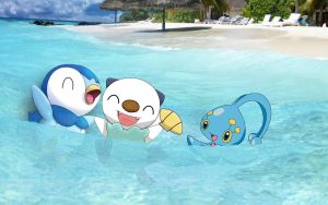 Piplup Manaphy and Oshawott! by ryanthescooterguy