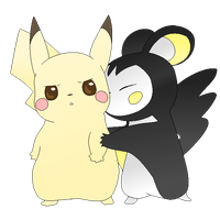 Pikachu and Emolga :Colored by kawaiipikachu12