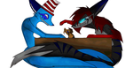 Sane Foxs and The mini Beast.:gift:. by darkdragon277