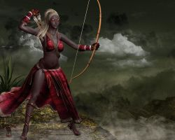 Dark Elf: Huntress by black-kat-3d