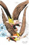 Hawkman and Hawkgirl Soaring by WibbitGuy