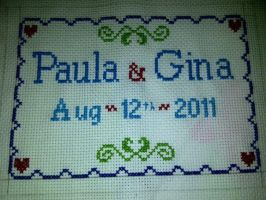 Paula and Gina Wedding xstitch by NurseTab