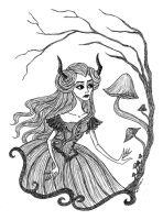 Horned Lady with Mushrooms by Maria-Mysteria