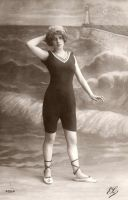 Vintage 1910s bathing beauty 001 by MementoMori-stock