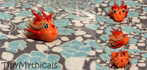 Fiery Polymer Clay Dragon Head Charm by TinyMythicals