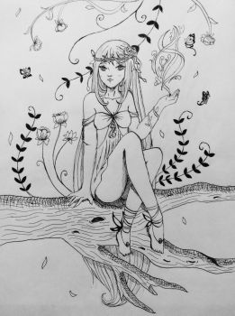 Forest Sprite (Inked) by Lily-L