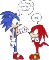 Modern Sonic meets Classic Knuckles by KessieLou