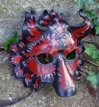 Burgundy and Silver Wolf Mask by merimask