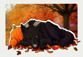 Napping in the Leaves by Sessko