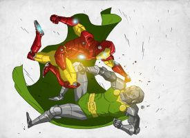 Iron Man vs Dr. Doom by darrenrawlings
