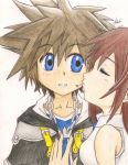 Sora and Kairi - colored by aoi-ryuu