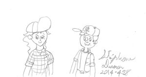 Todd and Maurecia cosplaying as Dipper and Wendy by stephdumas