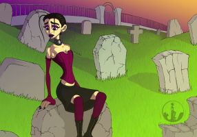 Evening in the Cemetery by CemeteryHillArt