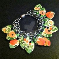 Coral and Pink Floral Scalemaille Bracelet by Rosie-Periannath