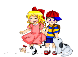 Ness and Paula practice by purplemagechan