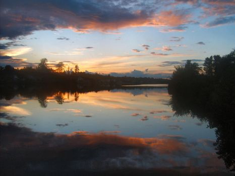 Piscataquis River sunset by ssg-McGary
