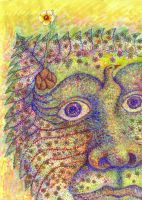 Spring Fever - Pointillism Watercolor and Acrylic by rebeccamichellelee