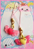 Winged Heart Phone Straps by cherryboop