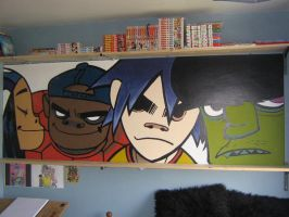 Gorillaz Wall Murial by rubber-pirate