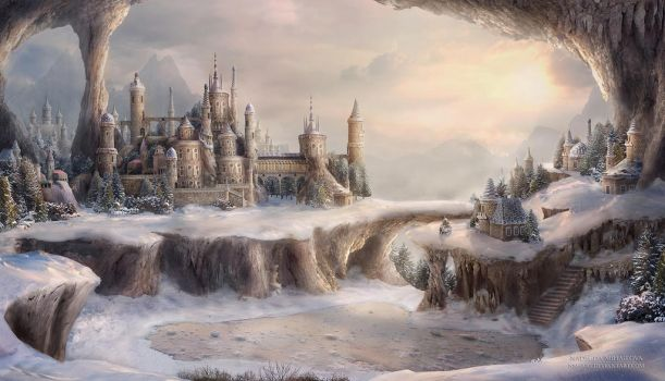 Winter In The Town of Blue Roofs by NM-art