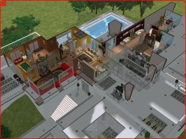 Sims 2 Ultramodern White Hillside Mansion by RamboRocky