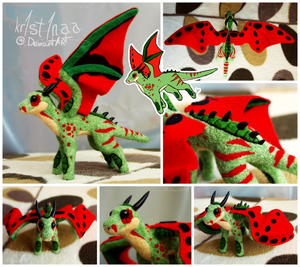 Crimson Winged Grass Dragon (FOR SALE) by kr1st1naa