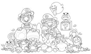 Super Mario Bros and friends - lineart by G-Lulu