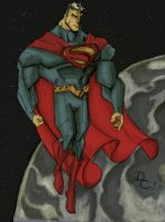 Superman in space by DCarelli