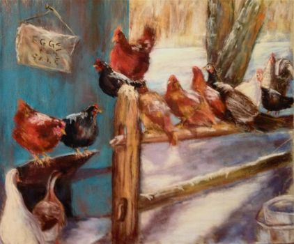 CHICKENS IN THE SNOW by Wulff-Arts