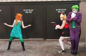 Poison Ivy vs Harley Quinn and the Joker ACen 2015 by Teddy-sol