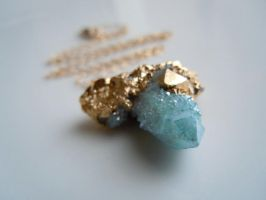 SPIRIT QUARTZ Necklace : Aqua Aura Druzy Necklace by 443Jewelry