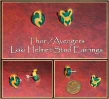 Thor and Avengers - Loki Helmet Stud Earrings by YellerCrakka