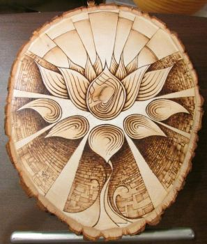 Lotus Pyrography Woodburned flower art by thecitrusmaster