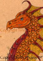 Orange Dragon ACEO by The-GoblinQueen