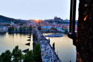 Charles Bridge aerial perspective by TheNimster