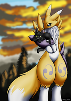 Renamon and Black cat - Nyaaa poster by Mancoin