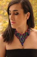 Aztec inspired bib bead embroidery necklace Ani by AniDandelion