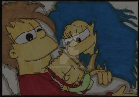 Homer, Marge And Bart - Night by ChnProd22