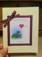Frog Card 2- Red Polka by PinkBunnie