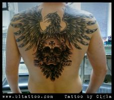 Eagle with skull by cigla