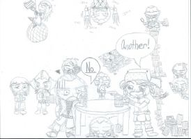Chibi!Drunk Dwarves (Uncolored) by Knuxie-Bro