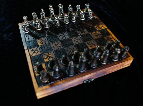Burnt Travel Chess Set by Goomba-2007