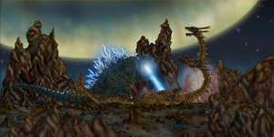 Scar demolishing King Ghidorah by MrJLM18