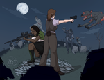 Commission: Zombie Slaying with Helena Harper by Dezfezable