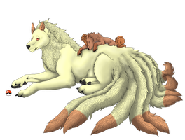 Ninetales and Vulpix Lineart by Caneage