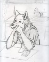 Spacing Out werewolf style by goldfox