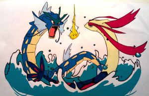 Gyarados VS Milotic by The-Poumi