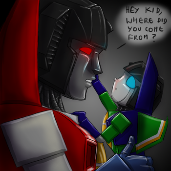 Starscream finds a Sparkling by PyroDragoness