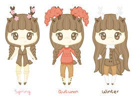 ce: Seasonal Sawsbuck Gijinkas [CLOSED] by Sugary-Stardust